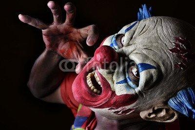 otiv: scary evil clown #123377123 - Bild auf Leinwand - 3:2-60 x 40 cm/40 x 60 cm (Scary Clown Bild)