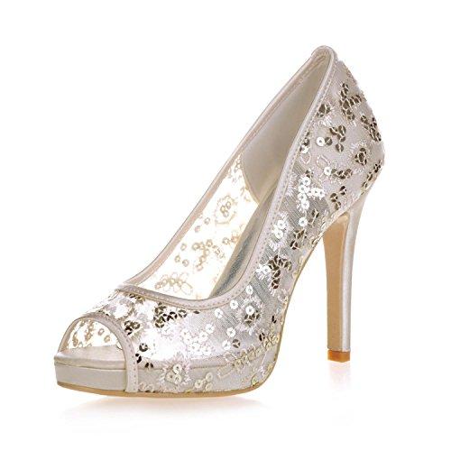 Elegant High shoes6041-06 Scarpe da Cerimonia Corte da Sposa con Tacco Alto E Plateau in Pizzo da Donna, Gold, 41