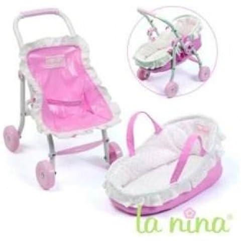 Carrito de bebé + Capacho puntos rosas Anita