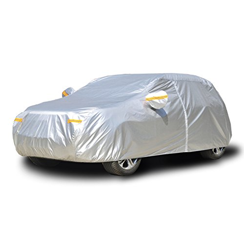 Kayme Telo Copriauto auto Impermeabile inverno universale Pieghevole Anti UV Anti Pioggia Sole Ghiaccio (4.50x1.80x1.50 M)Applicabile al portellone 2L
