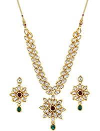 Aradhya Metal Sleek Shining Gold-Plated Kundan Necklace for Women