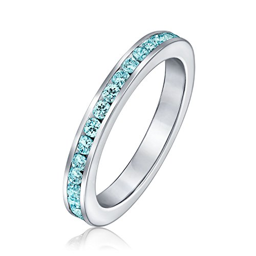 Bling Jewelry Sterling Silber simulierten Aquamarin CZ Ring