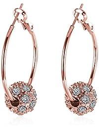 Klaritta Austrian Crystal Gold With White Zircons Rhinestone Hoops Earrings E291 tzc9TVxGS