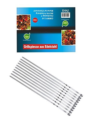 Grill Spieße Schaschlikschpieße Schampur aus Edelstahl 10 St. 50 cm Grillspieß Fleischspieße Kebab Grillzubehör für Mangal Grillbesteck