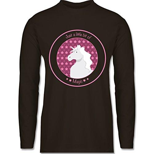 Pferde - Einhorn rosa - Longsleeve / langärmeliges T-Shirt für Herren Braun