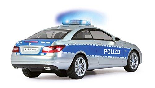 Jamara 410023 - Mercedes E350 Coupe 1:16 Polizei 2,4GHz - deutsche Polizeisirene, Alarmanlage, Startton, Beschleunigungston, Bremston, Hupe, Zusperrton, Signalleuchte, Blinker, 4 Geschwindigkeiten - 8