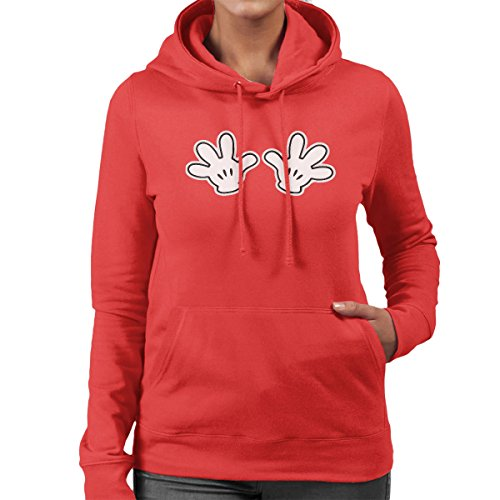 Disney Mickey Mouse Hands On Chest Women's Hooded Sweatshirt Red
