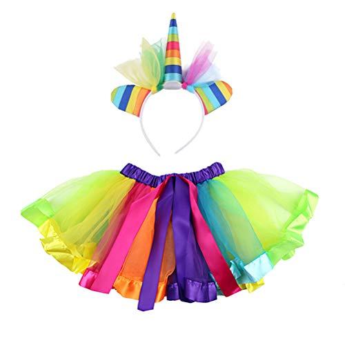 Amosfun Einhorn Tutu Rock Set mit Einhorn Stirnband Regenbogen Blase Rock für Party Performance Elf Kostüm liefert - Unicorn Geschenke, Unicorn Party Supplies