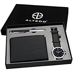 Altedo Giftset - Black Dial Men's Watch, Wallet & Stylus Pen with Led torch - Combo Pack for Men