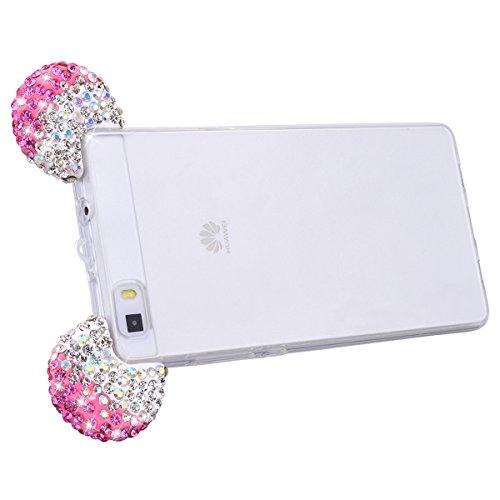 Huawei P8 LITE Cover Silicone Trasparente, GrandEver UltraSlim TPU Morbido Chiaro Custodia con Glitter Orecchie di Cristallo Orso per Natale, Bling Strass Diamante Case Ultra Protettiva Antiurto Anti  Rosa
