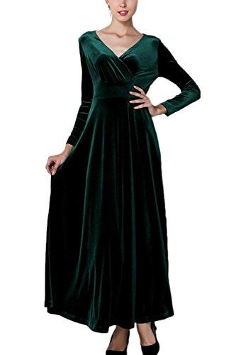Manches longues élégant surplis Swing ruché robe Maxi femmes green