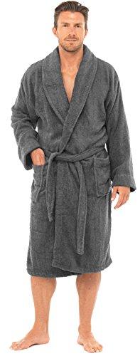 hommes luxe 100% éponge coton peignoir robe de chambre enveloppant Pyjama ht566 - Gris, Large / X-Larg