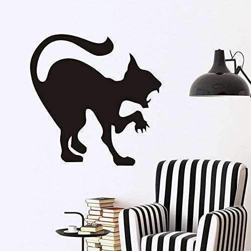Aisufen Scary Black Cat Wandaufkleber Halloween Dekoration Zischen Katze Vinyl Aufkleber Wandkunst, wütende Katze Hallowmas Home Decor Zubehör 44 * 44cm