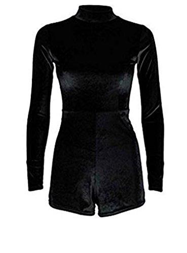 Fashion Essential-Womans Rihanna Velvet Polo Turtle Neck Inspiriert Spielanzug Kleid Black