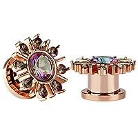 KUBOOZ 1 Pair Rose Gold Stainless Steel Colorful Zircon Ear Plugs Tunnels Gauges Stretcher Piercings