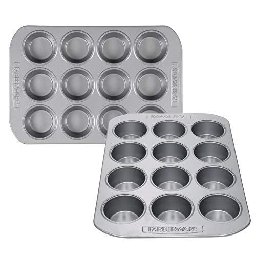 Farberware 47742 Muffinformen-Set, Stahl, Grau, 2 Stück - Popover-set