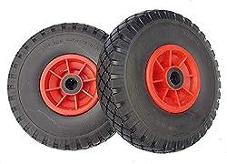 2 x Frosal PU Rad Sackkarre 260 mm 3.00-4   25 mm Achse   Sackkarrenrad Vollgummi   Ersatzrad Bollerwagen pannensicher   Reifen