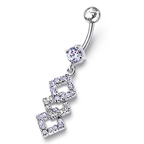 Bijou de corps anneau de nombril motif diamant Argent Sterling avec 14G-3/8 Inch (1.6x10MM) Banana Acier chirurgical 316L Lavender