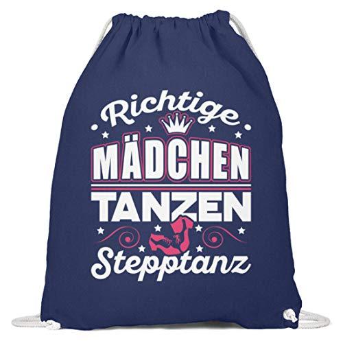 GetMerch Richtige Mädchen tanzen Stepptanz - Baumwoll Gymsac -37cm-46cm-Marineblau