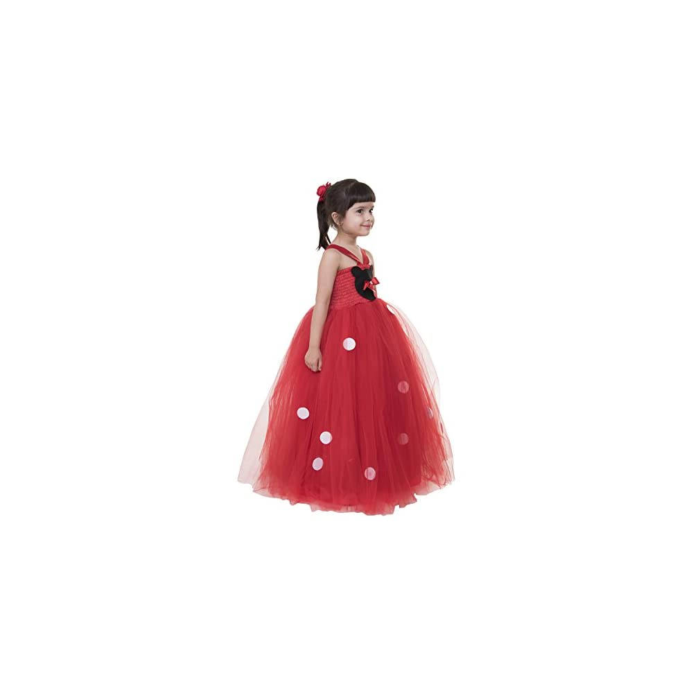 ce5706516 Samsara Couture Kids Minnie Mouse Red Net and Satin Girls Party Wear Dress  Birthday Party wear Dress