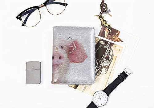 Mädchen Pass Fall Cartoon Rosa Schwein Tragen Brille Passinhabers Abdeckung Fall Für Frauen Männer Reisegepäck RFID Blockieren Passport Wallet Große Pass Fall