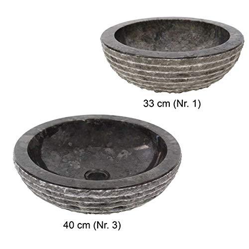 Runde Marmor (Naturstein Waschbecken Handwaschbecken Natursteinwaschbecken Waschtisch 40 cm Marmor Natur Stein Rund Schwarz Grau Nr.3)
