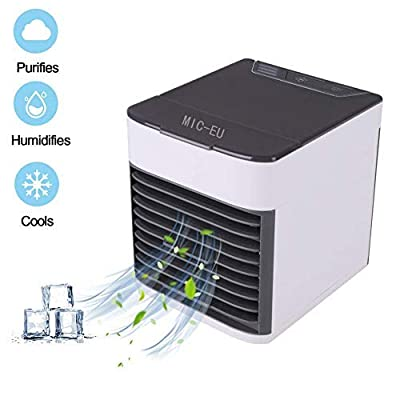 MIC-EU 3-in-1 Air Cooler, Portable Air Conditioner Humidifier Purifier, 3 Fan Speeds 7 Colors LED Lights USB Personal Space Desktop Air Condition