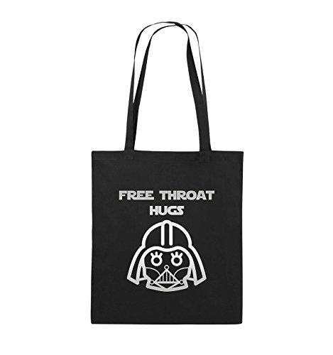 Comedy Bags - FREE THROAT HUGS - Jutebeutel - lange Henkel - 38x42cm - Farbe: Schwarz / Silber Schwarz / Silber