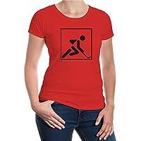 buXsbaum® Damen Kurzarm Girlie T-Shirt bedruckt Feldhockey Piktogramm   field hockey Fanshirt