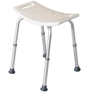 HOMCOM Taburete de Ducha Silla Baño Ortopedica 8 Posiciones Altura Regulable con Tapones de Goma Antideslizantes