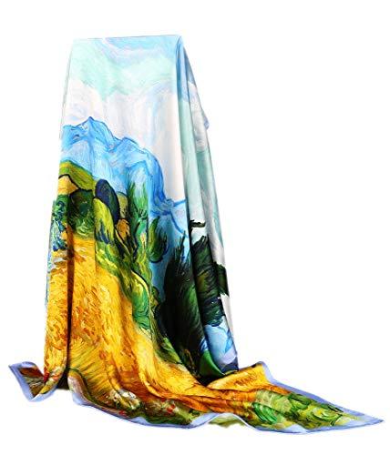 Prettystern xxl 110cm panno di seta sciarpe e stole bordi arrotolati mano van gogh campo di grano con cipressi
