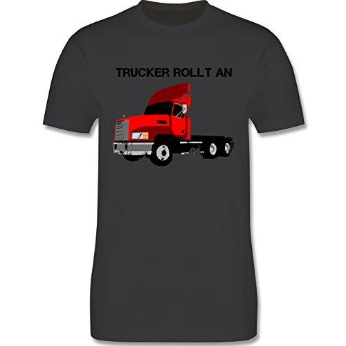 Trucker - Trucker rollt an - Herren Premium T-Shirt Dunkelgrau