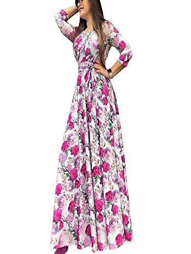 Prezzo basso donne vestito abiti donna eleganti da cerimonia taglie forti vestito lungo da spiaggia con scollo a v stampato a maniche a tre quarti casual moda vacanza gonna