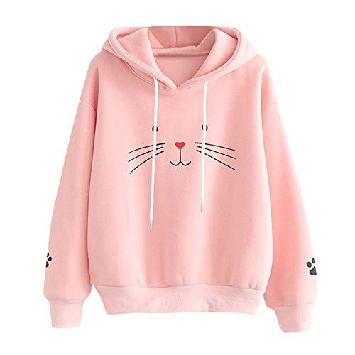 Sudaderas Tumblr Chica Gato Animal Patrón Casual