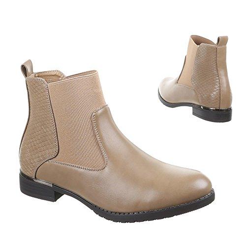Damen Schuhe, 55008-PA, STIEFELETTEN Khaki