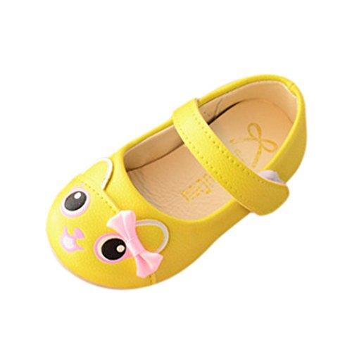 Babyschuhe Ballerinas Bowknot Lederner Schuh Mädchen Schuhe Sommer Kinderschuhe Hausschuhe Prinzessin Schuhe Festliche Schuhe Lackschuhe Kinderschuhe Turnschuh LMMVP (1-3 Jahr) (Gelb, 21 (1Jahr)) (Mary-janes Mädchen Casual)