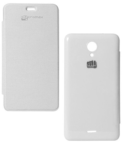 DMG Hot Pressed Durable Leather Flip Cover for Micromax Unite 2 A106 (White)