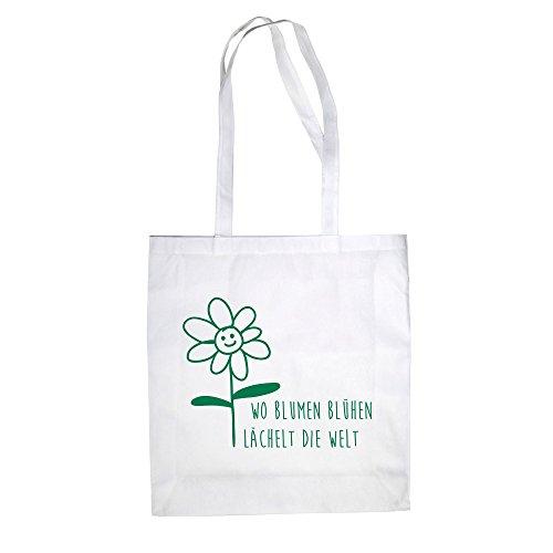c42f717adf418 Jutebeutel Baumwolltasche - Wo Blumen blühen lächelt die Welt - von SHIRT  DEPARTMENT weiss-dunkelgrün