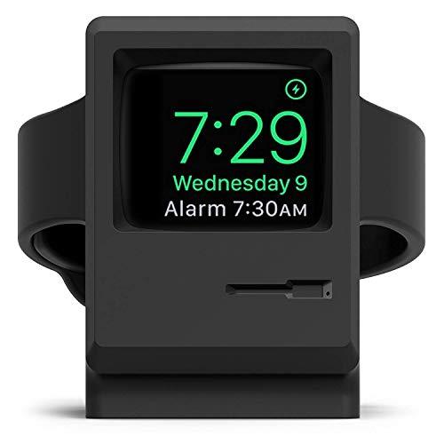 elago Supporto W3 Stand Compatiblile con Apple Watch Serie 5 (2019) / Serie 4 / Series 3 / Series 2 / Series 1 / 42mm / 40mm / 38mm - Stand Notturno, Design 1984 Macintosh (Nero)
