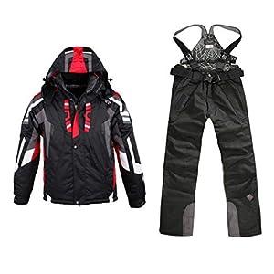 Oplon Herren Skianzug Zweiteilig Skijacke Skihose Wasserdicht Schneeanzug Snowboardanzug Winter Ski Kapuzenjacke Hose Snowboard Bekleidung Schwarz Rot Blau Weiß