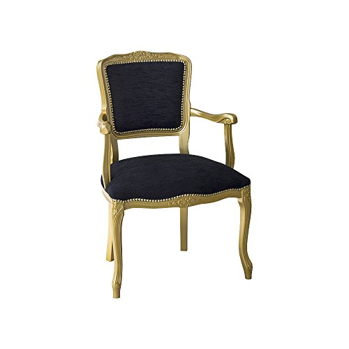 Pieffe mobili poltroncina in legno laccato stoffa nera, oro, taglia unica