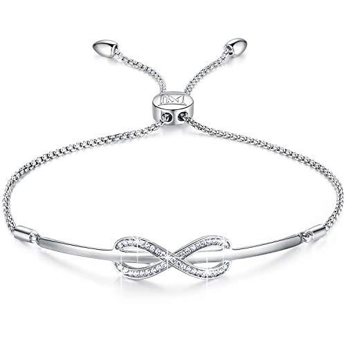 NINAMAID Armband Frauen Silber 925 Unendlichkeit Liebe Symbol Schmuck Damen Armband Freundschaft Einstellbar