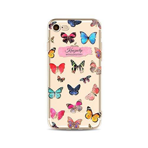 Coque iPhone 7 Housse étui-Case Transparent Liquid Crystal en TPU Silicone Clair,Protection Ultra Mince Premium,Coque Prime pour iPhone 7-Le Papillon-style 18 23