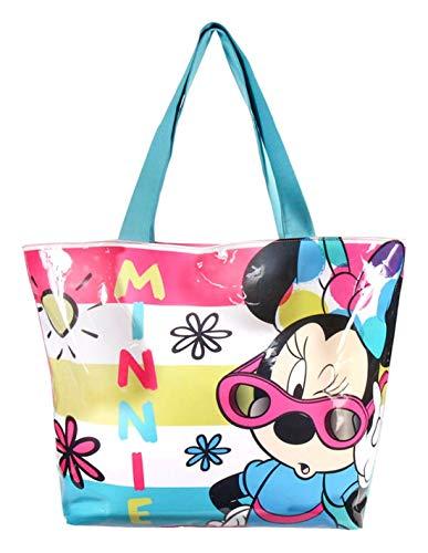 Minnie Sac de plage - Cabas enfant fille Disney Rose/bleu 48x35cm - Rose/bleu, Taille unique