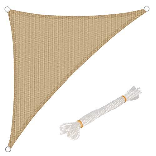 WOLTU Sonnensegel Dreieck 3,6x3,6x5,1m Sand atmungsaktiv Sonnenschutz HDPE Windschutz mit UV Schutz für Garten Terrasse Camping