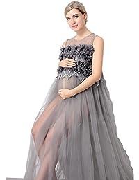 Las mujeres ven a través de malla vestido sin mangas vestido de maternidad maxi para Foto