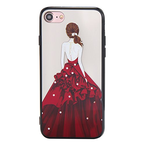 Coque iPhone 7 Case, Silicone Housse iPhone 7 apple Case Rosa Schleife® Etui iPhone 7 TPU Gel de Silicone Ultra mince Cas Transparente Housse de Protection Back Cover Protective Shell Mirror Clair Cas 2-Style