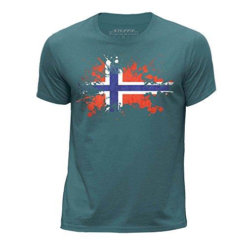 STUFF4 Jungen/Alter 9-11 (134-146cm)/Ozean Grün/Rundhals T-Shirt/Norwegen/Norwegisch Flagge Splat (Land-flaggen-t-shirt)