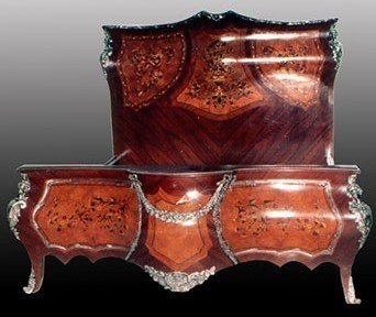 LouisXV Barock Bett rokoko MoBdLuSi07622 antik Stil Massivholz. Replizierte Antiquitäten Buche...