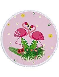 Envoltura de la Envoltura del bebé Pink Flamingo Love Pattern Impreso Round Toalla de Playa con